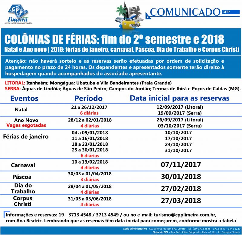 07.12.2017 - COMUNICADO - CPP fim de 2017 e início 2018