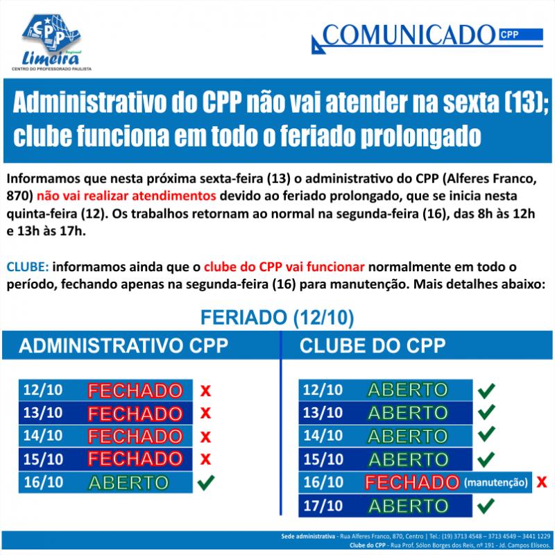 11.10.2017 - COMUNICADO - sede adm e clube - feriado 12-10
