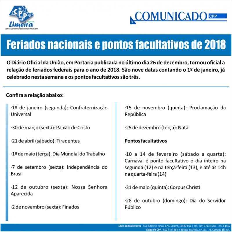 03.01.2018 - COMUNICADO - feriados nacionais - png